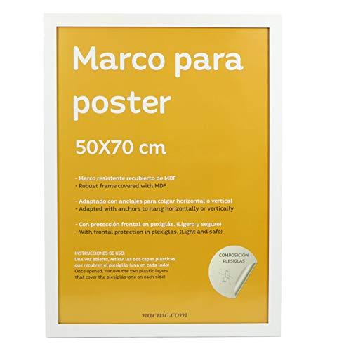 Nacnic Marco Blanco para Fotos, Posters, láminas, Diplomas. Tamaño(50x70 cm).Robusto de MDF y Frontal de plexiglas.Marco Blanco para Colgar