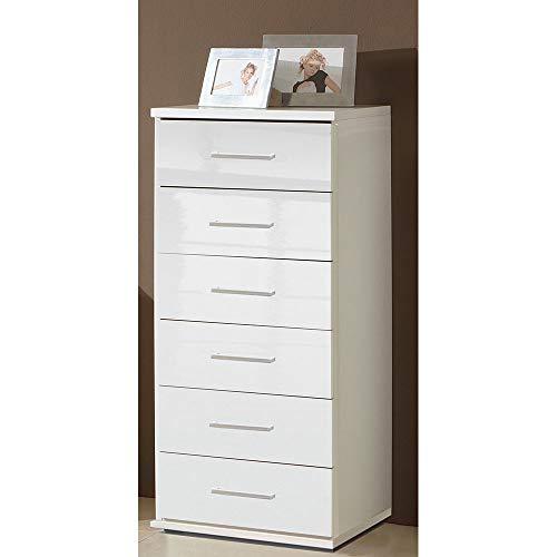 wohnderful24 Schubladenkommode Weiß/Weiß Hochglanz schmal mit 6 Schubkästen Anrichte 46 x 106 x 40 cm