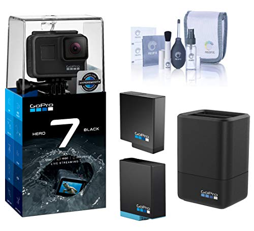 GoPro HERO7 Black - Waterproof Digital Action Camera, 4K HD Video 12MP, Bundle with 2 Extra Battery, Dual Charger, Cleaning Kit