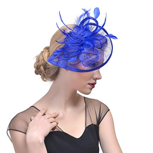 WE-WHLL Women Wedding Hat Fascinator Feather Mesh Party Cocktail Headdress Hair Clip New-Blue