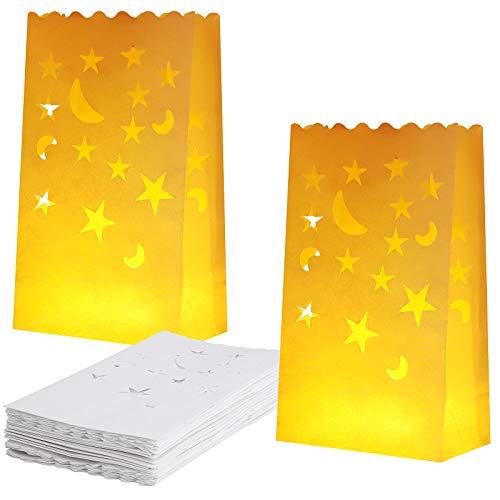 Aneco 36 Pieces Paper Luminary Bags with Stars and Moon Design White Candle Bags Flame Resistant Paper Lantern Bags Tealight Holders for Christmas, Wedding, Party Decor