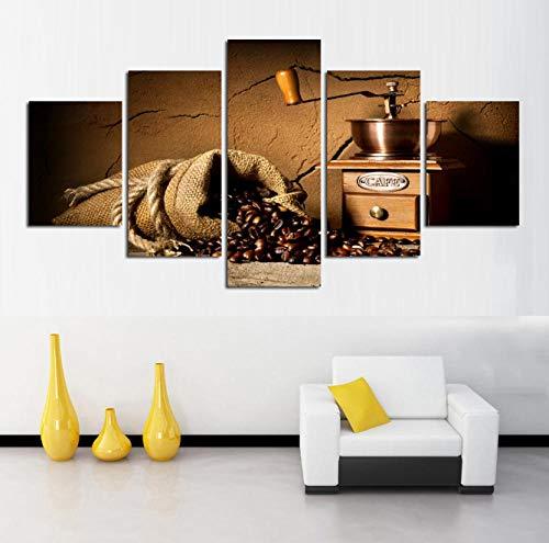 5 opeenvolgende schilderij decoratieve behang muurschildering kunst op canvas moderne schilderij ingelijste koffiemachine foto's bonen muur canvas voor huisdecoratie vintage stijl