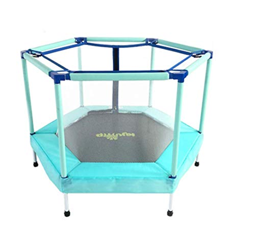 LuoMei Small Jumping Fitness Trampoline Gym with Safety Enclosure Outdoor and Indoor Trampoline for Kidsblau