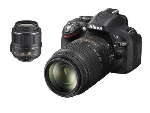 """Nikon D5200 - Cámara réflex digital de 24.1 Mp (pantalla de 3"""", objetivo(s) 18-300mm f/3.5, estabilizador de imagen, vídeo 1080p Full HD) negro - Kit con objetivos AF-S DX 18-55 mm VR y 55-300 mm[importado]"""