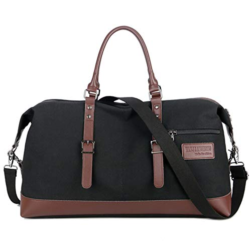 Gym Sports Duffle Bag Men's Portable Travel Bag Waterproof Canvas Messenger One Shoulder Retro Outdoor Leisure Portable and Durable (Color : Black, Size : 53x25x39cm)
