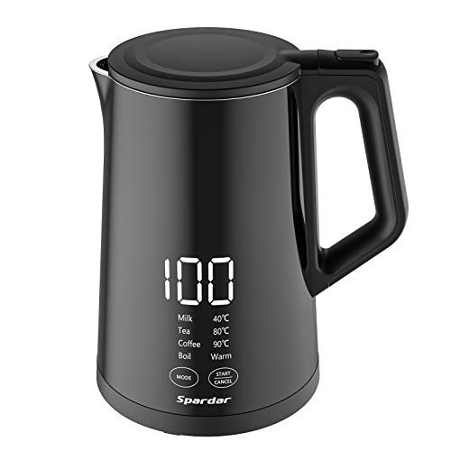 Spardar Electric Kettle 1.5L Double Wall Temperature Control Cool Touch Hot Water Boiler 100% Stainless Steel Inner Lid and Bottom, 1800W Rapid Heating for Coffee, Tea, Milk