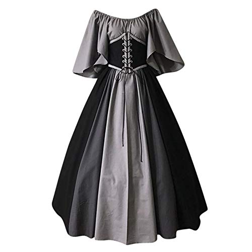 Forthery Women Vintage Dresses Celtic Long Sleeve Medieval Maxi Dresses Renaissance splay Dress(ffee,S), Gray