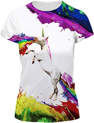 FLYCHEN Mujer T-Shirt 3D Impreso de Dibujos Animados Casual Camisetas Moda Manga Corta Tees Unicornio Arcoiris - M