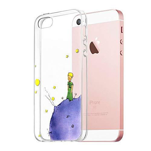 Cover iPhone SE, YOEDGE Antiurto Custodia Trasparente con Disegni [The Little Prince] Ultra Slim Protective Case Bumper in TPU Silicone per Apple iPhone SE / 5s / 5 (4 pollici) Smartphone (Porpora)