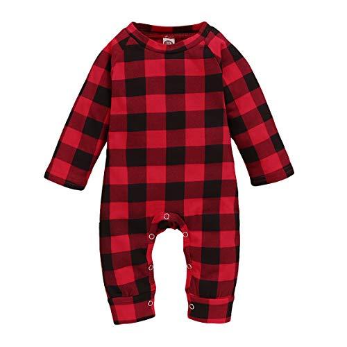 Hinzonek Baby Kleinkind Bodysuit Strampler Langarm Rot Schwarz Kariert Overalls Overall Nachtwäsche Nachthemd für 0-18 Monate