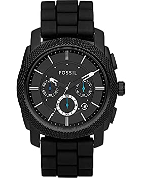 Fossil Men s Machine Quartz Stainless Steel and Silicone Chronograph Watch Color  Black  Model  FS4487IE