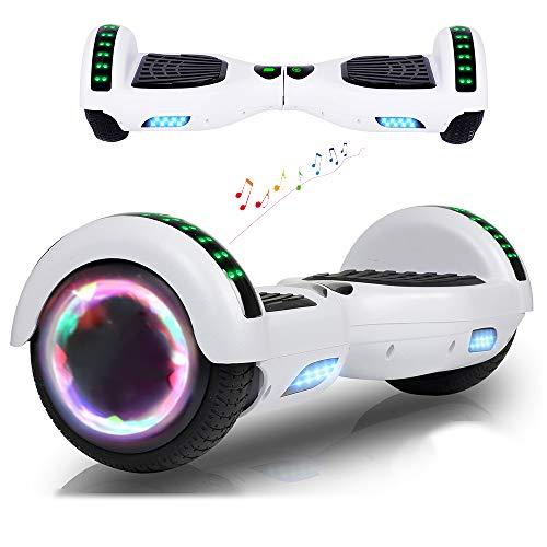 """RangerBoard Hoverboard Pas Cher Blanc - 6,5"""" - Bluetooth - Moteur 700W - Vitesse Max 15KM/H - Gyropode Auto Equilibre - Lumière - Cadeaux Enfants et Adultes"""