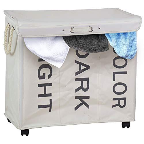 BAKAJI Cesto para la ropa sucia con 3 compartimentos, cesta para la colada con 3 compartimentos de tela Oxford plegable con ruedas y asas, tamaño 63 x 35 x 57 cm (crema)