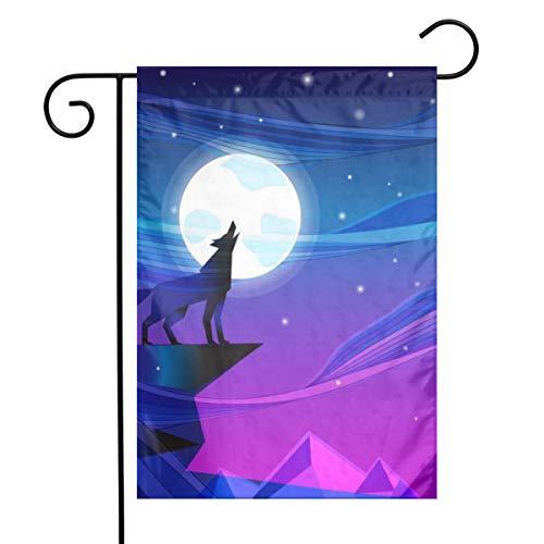 Tvon9k - Bandera de jardín para exteriores, color azul, Lobo de luna estrellada, 12'x18'