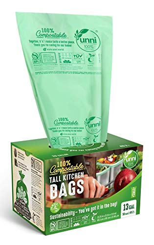 UNNI ASTM D6400 100% Compostable Trash Bags, 13 Gallon, 49.2 Liter, 50 Count, Heavy Duty 0.85 Mils, Tall Kitchen Trash Bags, Food Waste Bags, US BPI and Europe OK Compost Home Certified, San Francisco