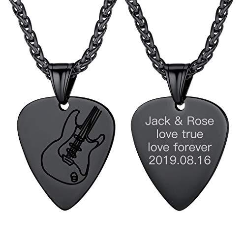 Pick Plectrum Música Collar Negro de Púa de Guitarra Material Acero Inoxidable 316L Colores Oscuros Cadenas Delgadas con Colgante Pequeño