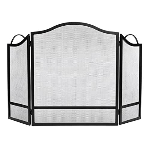 Salvachispas chimenea Pantalla de chimenea Metal Negro Panel ignífugo con pantalla de chimenea neta Tres pliegues Plazo de piso a techo Cerca de techo Chimenea Decoración de la puerta Salvachispas