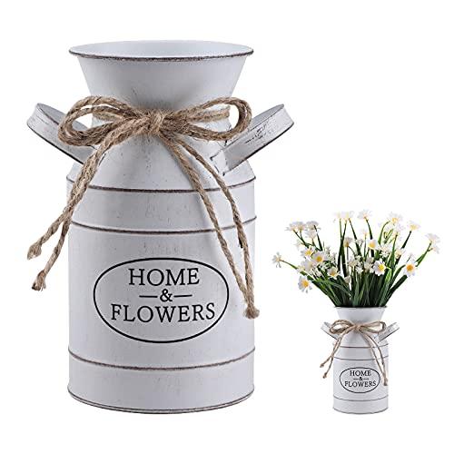 Vaso vintage shabby chic, vasi da fiori in metallo rustico vaso da fiori in ferro stile francese brocca fiori vasi zincati barattolo di latta vaso decorativo per giardino decorazioni per la casa white