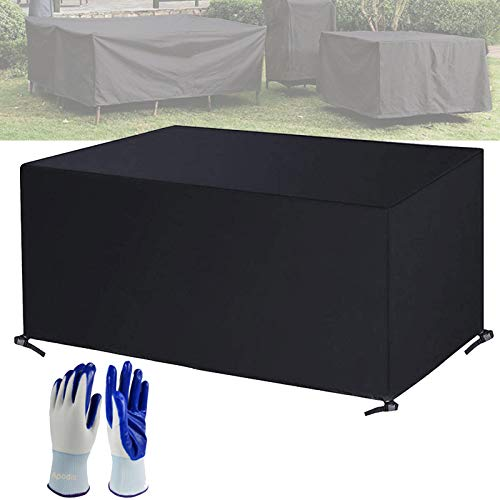 Apodis Garden Furniture Covers Waterproof Extra Large Outdoor Table Cover Heavy Duty 420 Oxford Cloth with Garden Gloves for Rectangular Rattan Garden Furniture Sets, Black 150×120×71cm