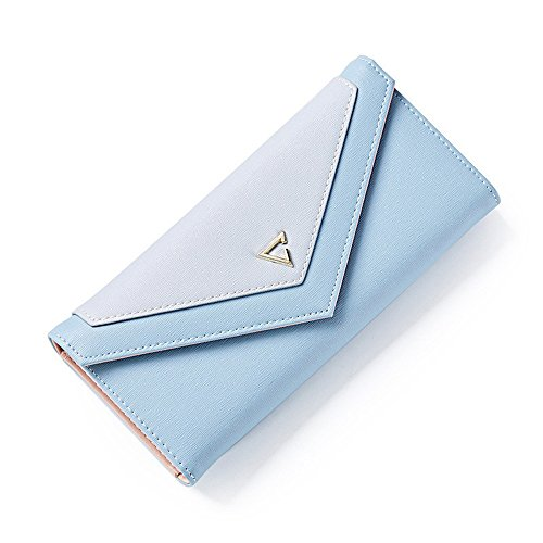 DWE Damen-Geldbörse aus PU-Leder, modisch, langer Umschlag, Münzfach, Ausweishalter, Handtasche für Damen und Mädchen Schwarz blau