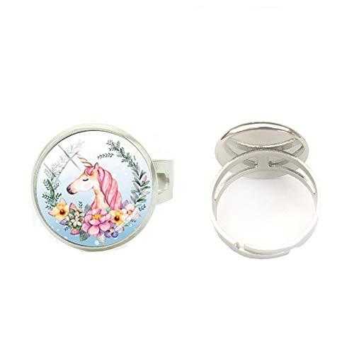 Anillo de unicornio de alta calidad hecho a mano con diseño de dibujos animados, cabujón de cristal ajustable, anillos de plata, joyería artesanal, el mejor regalo para niñas y mujeres