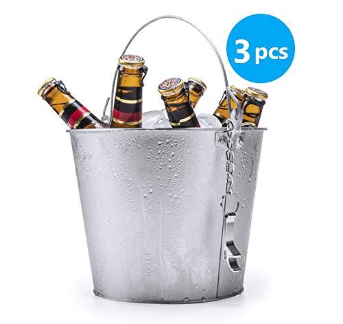 Publiclick Cubos Aluminio, Lote 3 Unidades, Cubos Cerveza, cubitera, Cubos Aluminio,Cubo metalico, decoración, medidasx 18.5 x cm | 22.5 Ø | 375 gr. Incluye abridor