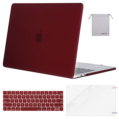 Mosiso Hard Case with Keyboard Cover with Screen Protector with Storage Bag for Newest Macbook Pro 13 Inch, Deep Red