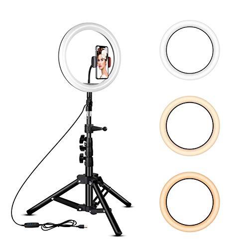 Rovtop 25,4 cm Ringlicht mit Ständer, LED-Kreisslichter mit Handyhalterung für Selfie-Kamera, Fotografie, Make-up, Video, Live-Streaming