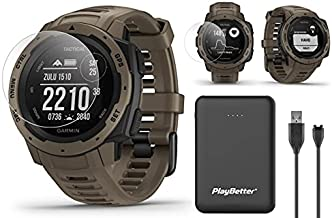 Garmin Instinct Tactical (Coyote Tan) Outdoor GPS Watch Power Bundled with HD Screen Protector Film Pack & PlayBetter Portable Charger | US Military 810G, Reinforced Housing, Stealth Mode, TracBack