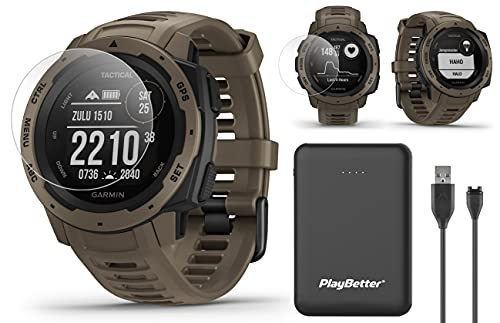 Garmin Instinct Tactical (Coyote Tan) Outdoor GPS Watch Power Bundle | with HD Screen Protector Film Pack & PlayBetter Portable Charger | US Military 810G, Reinforced Housing, Stealth Mode, TracBack