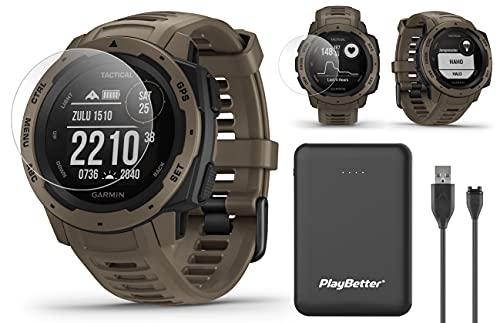 Garmin Instinct Tactical (Coyote Tan) Outdoor GPS Watch Power Bundled with HD...