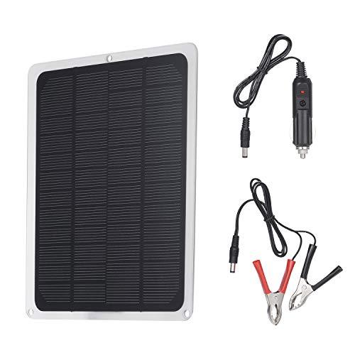 Decdeal Solarmodul DC12V 10W Solarpanel mit USB Anschluss Autoladegerät Gebühr für 12V Akku Tragbares Zubehör für Outdoor Camping Wandern Angeln Klettern