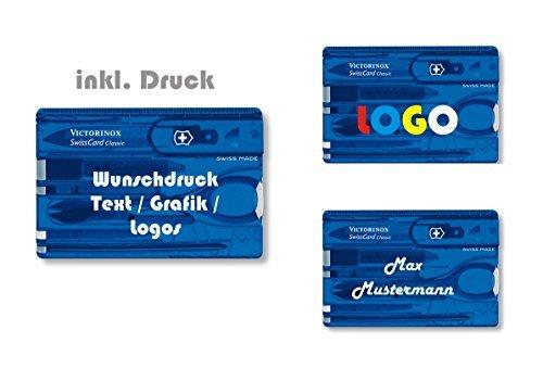 Victorinox- Swiss Card Classic Taschenmesser mit persönlichem Wunschtext, Druck, Motive. Slogen, Logos Mehrfarbig personalisiert Logo auf dem Etui Nr. 0.7100 Nr. 0.7100 (blau transparent)