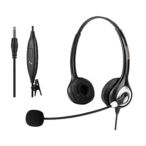 Headset Handy mit Noise Cancelling & Lautstärkeregler, PC Kopfhörer 3,5mm Klinke für iPhone Samsung LG HTC BlackBerry Handy iPad Tablet Klarer Chat, Ultra-Komfort (A602MP)