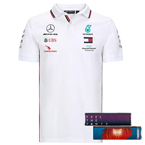 Mercedes AMG Petronas Team Polo T-Shirt Oberteil Shirt 2020 weiß + 4X FANERGY Traubenzucker (M)