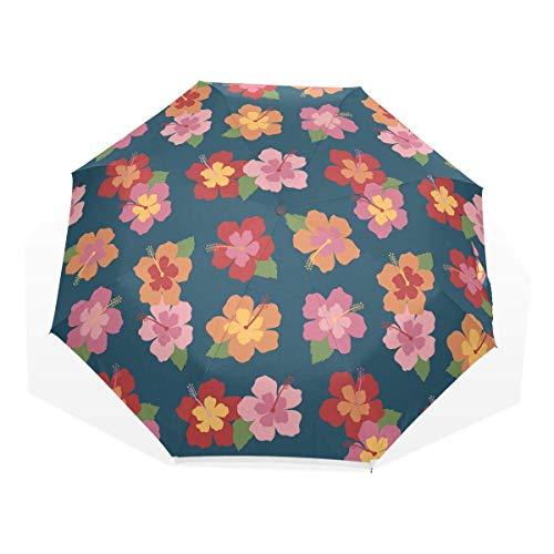 Trushop Paraguas Automático Floral Windproof Travel Umbrella Compact Folding Umbrella