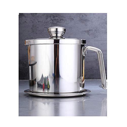 Coladores cocina Pote de aceite de aceite de acero inoxidable Potencia de aceite de gran capacidad para el hogar Botella de aceite de cocina con pantalla de filtro de tapa Almacenamiento de aceite y m