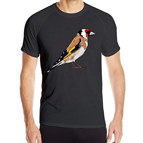 Jilguero Pájaro Blanco Camiseta de Secado rápido para Hombres Camiseta Militar Camiseta de Senderismo para Acampar al Aire Libre para Hombres de Manga Corta