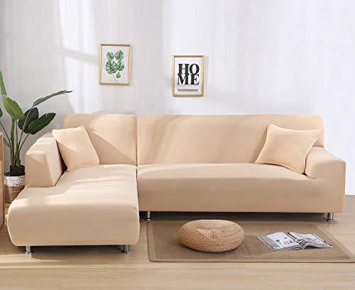 Cxssxling - Funda de sofá esquinero convertible en tejido de poliéster extensible para sofá en forma de L, funda de sofá en tejido elástico (2 plazas), color beige