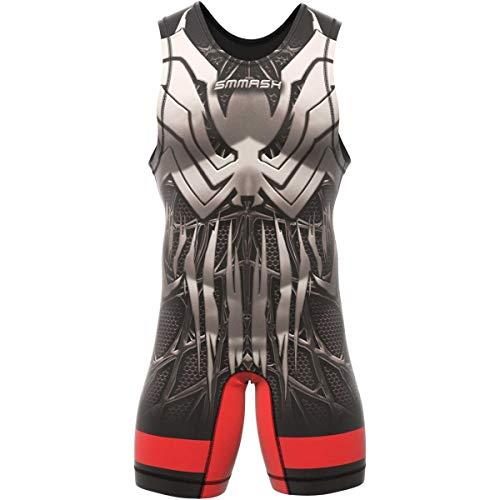 SMMASH Venomous Ringeranzug für Herren, Wrestling Singlet, Material Atmungsaktiver und Haltbar, Bodysuit mit Gummizug an der Beinöffnung, Ringer Trikot, Hergestellt in der EU (XL)