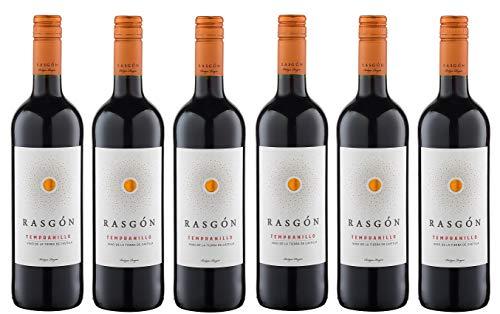 6x 0,75l - 2019er - Rasgón - Tempranillo - Vino de la Tierra de Castilla - Spanien - Rotwein halbtrocken