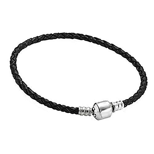 Akki Beads braccialetto charms in pelle nero per ciondoli e ciondoli in argento, compatibile con pandora troll fiore club a forma di cuore e Acciaio i