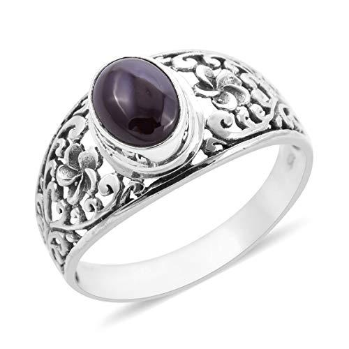 Royal Bali Star Garnet Floral Filigree Ring in Sterling Silver Size T, 3.12 Ct.