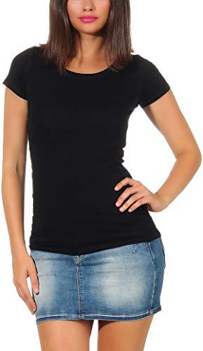 Jela London Damen Longshirt T-Shirt lang Stretch Rundhals Kurzarm einfarbig sexy eng-anliegend, Schwarz 36-38 (L)