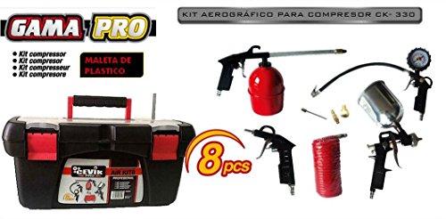 Cevik CAKIT8PRO - Kit aerográfico para compresor. 8 piezas: pistola de pintar, de petrolear, soplador, inflador, espiral 5 mt.y 3 boquillas