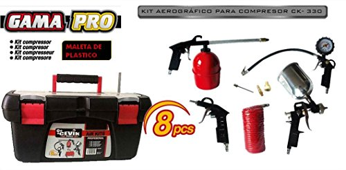 Cevik CAKIT8PRO - Kit aerográfico para compresor. 8 piezas: pistola de pintar, de...