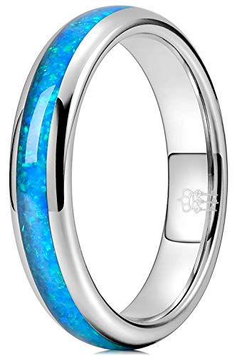 Three Keys Jewelry Silver Tungsten Carbide Womens Galaxy Blue Opal Wedding Rings 4mm Ring Polish for Women Inlay Engrave Engagement Size P