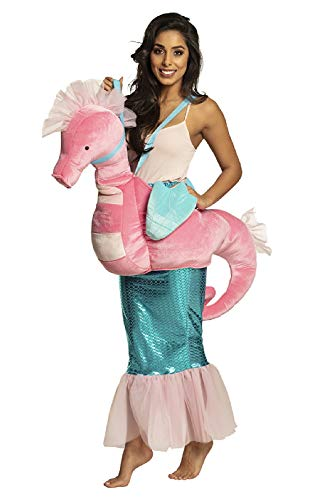 narrenkiste B88090 rosa-türkis Damen Seepferd Kostüm Plüsch-Reittier Reitseepferd Seahorse