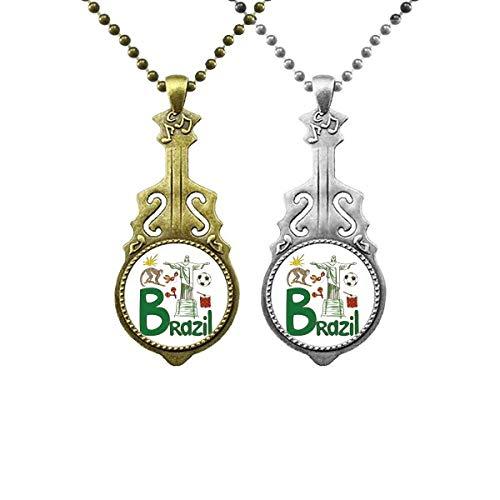 Halskette mit Anhänger mit Brasilien-National-Symbol, Sehenswürdigkeit, Musik-Gitarre, Schmuck