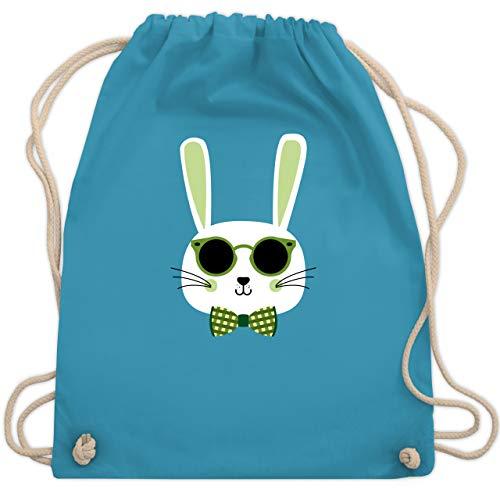 Shirtracer Ostern Kinder - Osterhase Sonnenbrille Grün - Unisize - Hellblau - jutebeutel kinder - WM110 - Turnbeutel und Stoffbeutel aus Baumwolle